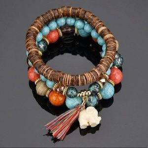 Wood Tribal Hand-painted Beaded Bracelets